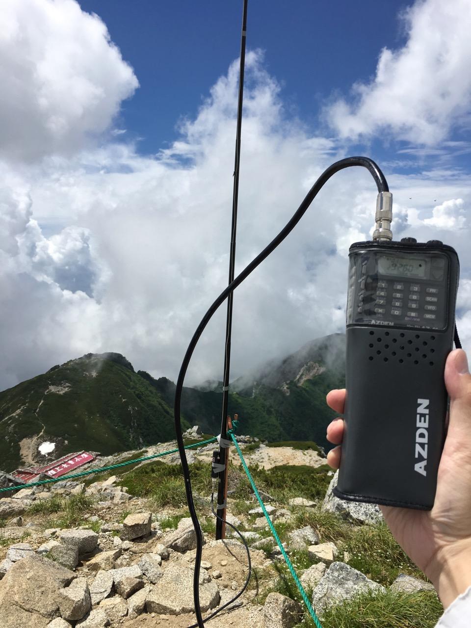 木曽駒ヶ岳山頂にて10mFM運用